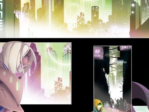 Sci-fi vector-style comic book art